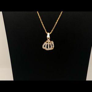 Allah gold diamond chain necklace pendant